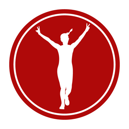 sports sign icon girl running hand peace symbols