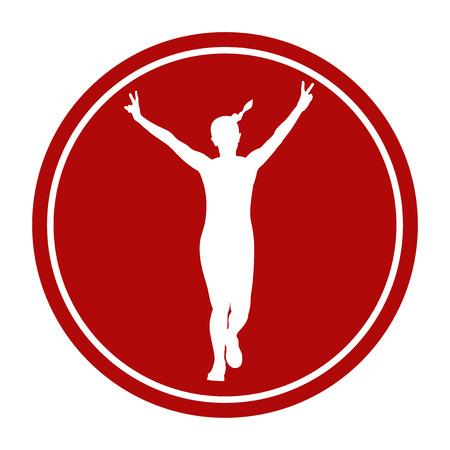 sport sign icon girl running hand peace symbols