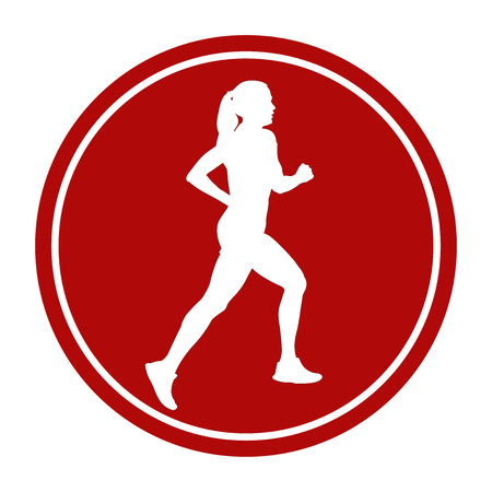 sports sign icon girl athlete runner running