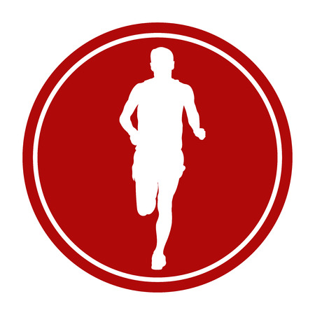 sports sign icon male runner athlete running Illustration
