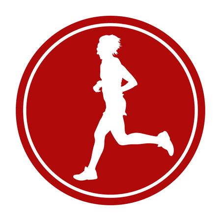 sports sign icon woman runner running marathon Illustration