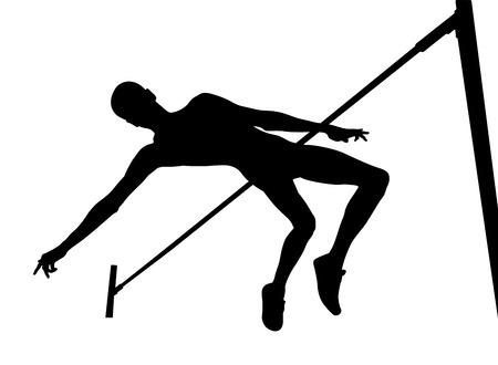 high jump athlete jumper over bar black silhouette