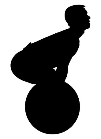 exercise deadlift man athlete powerlifter black silhouette Illustration