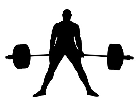 Male powerlifter exercise deadlift black silhouette