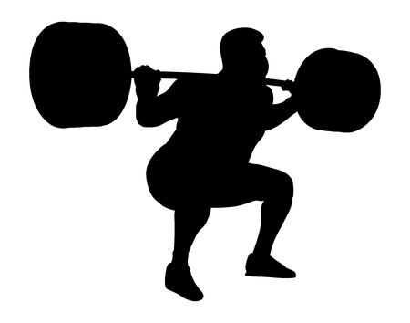 Male powerlifter competition in black silhouette Illustration