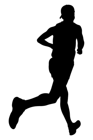 uphill: athlete runner in cap running marathon vector illustration