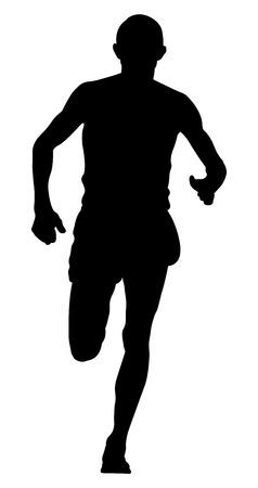Male runner leader of city marathon running vector illustration.