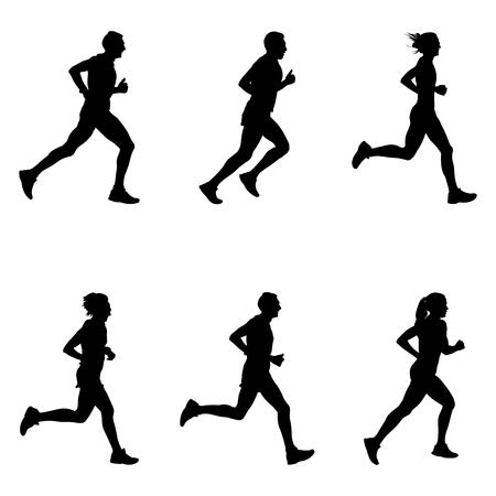 set people running marathon black silhouette Vektorové ilustrace
