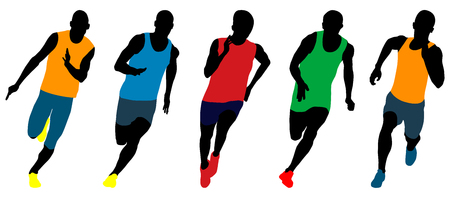 Set athletics runners sprinters running colored silhouettes