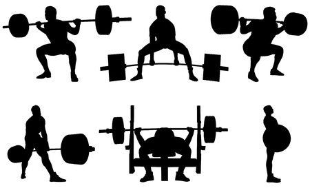 Set powerlifting athletes powerlifters black silhouette