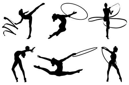 Set rhythmic gymnastics silhouette. vector illustration