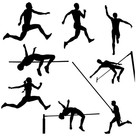 Set track and field sports jumping black silhouette Фото со стока - 84999200