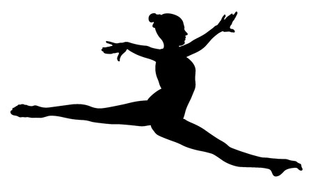 Split jump girl gymnast in competition gymnastics black silhouette. Banco de Imagens - 89841164