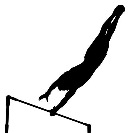 vault gymnastics silhouette. Black Silhouette Horizontal Bar Man Gymnast In Artistic Gymnastics Vector Vault A