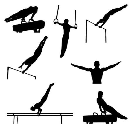 conjunto de ginastas de atletas de homens em silhueta de ginástica artística