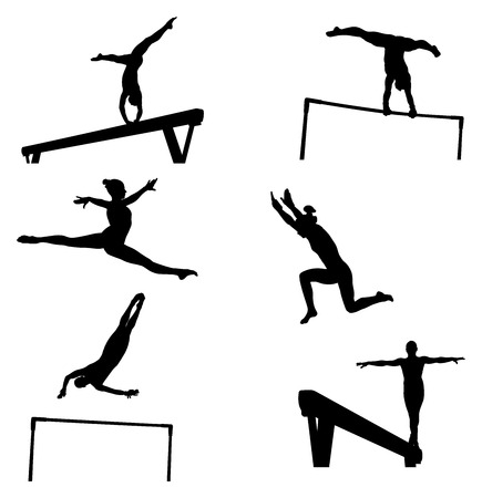 set female athletes gymnasts in artistic gymnastics silhouette Vectores