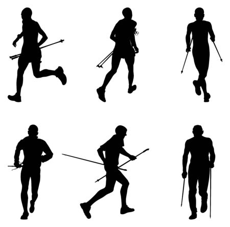set men athletes skyrunner running with trekking poles