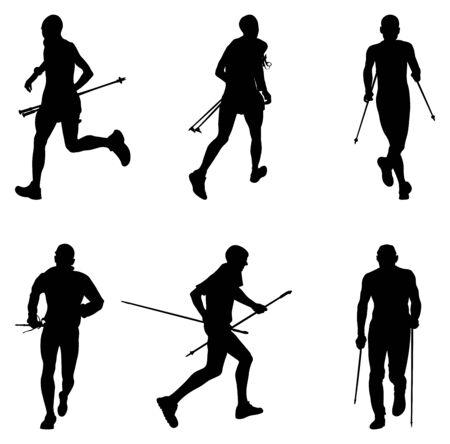 set men athletes skyrunner running with trekking poles