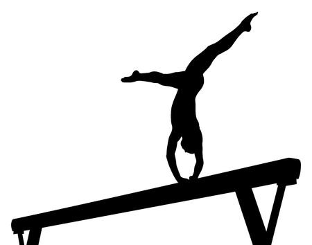 balance beam girl gymnast in artistic gymnastics black silhouette Vectores