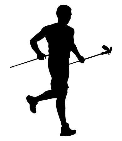 Athlete sky runner with trekking sticks running from mountain vector illustration.