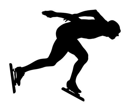 black silhouette athlete speedskater competition in speed skating
