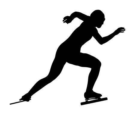 start women athletes speedskater black silhouette