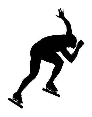 athlete speed skater ice skating racing sport black silhouette Illustration