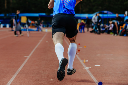 long jump run-up athlete men jumper in competition Stock Photo
