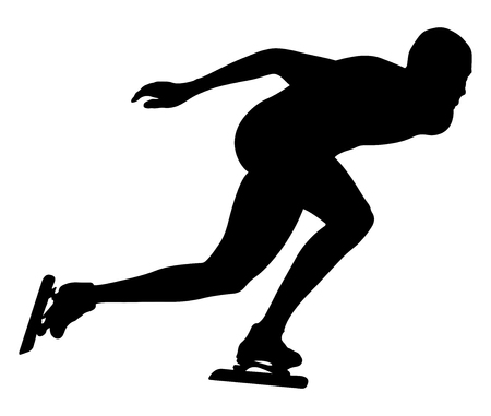 A Vector illustration athlete speed skater black silhouette