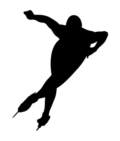 A black silhouette athlete speed skater turn ice rink
