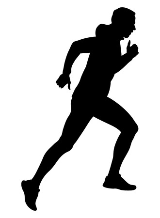 Male runner running uphill in windbreaker black silhouette