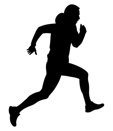 Dynamic running uphill male athlete in a hoodie