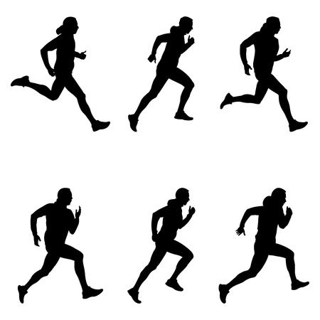Set men runner black silhouette illustration.