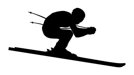 Silhouette of a skier, skiing downhill in Alpine