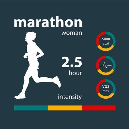 Infographics women running marathon: calories, heart rate, oxygen, intensity. Illustration