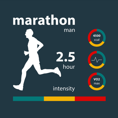 info graphics man running marathon: calories, heart rate, oxygen, intensity Vectores