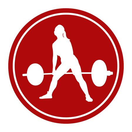 Icon female athlete power lifter dead lift white figure in the red circle.