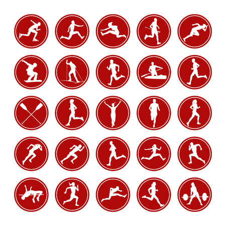 Set icons real athletes men and women from different sports.