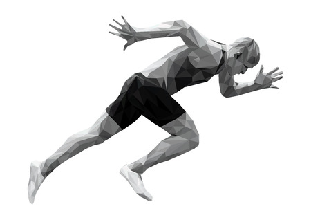 Start met sprinter man atleet laag poly silhouet Stockfoto - 93013832