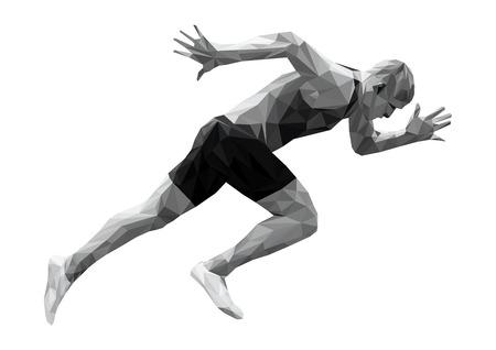 zacznij biegać sprinter mężczyzna sportowiec low poly sylwetka