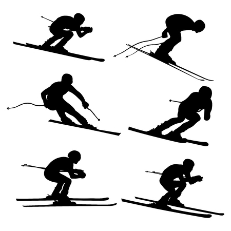 Set alpine skiing athlete black silhouette