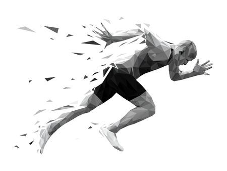 sylwetka uciekinier sprinter wybuchowy start. wielokątne cząstki