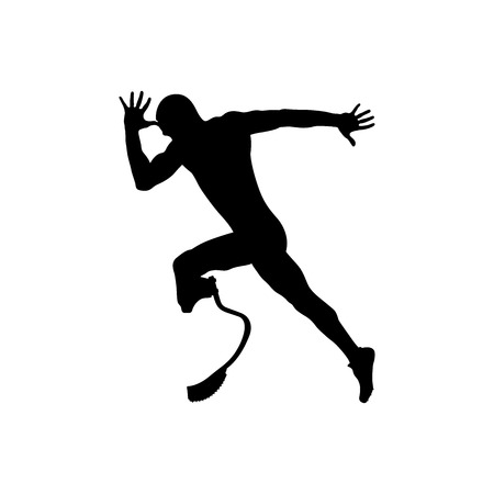 explosive motion athlete runner disabled amputee Illustration