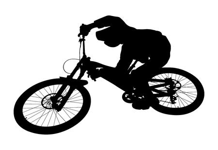 Cyclist jump downhill mountain biking black silhouette
