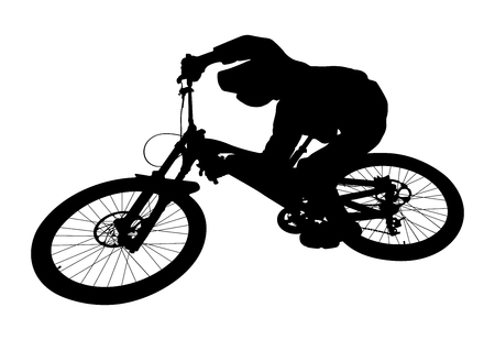 Cyclist jump downhill mountain biking black silhouette