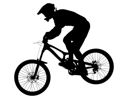 Athlete rider on bike mountain biking black silhouette Vectores