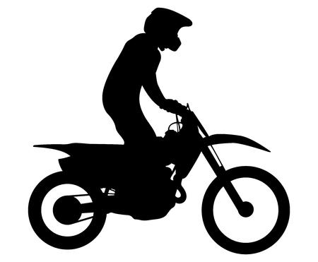 Endurance athlete on bike rides motocross black silhouette