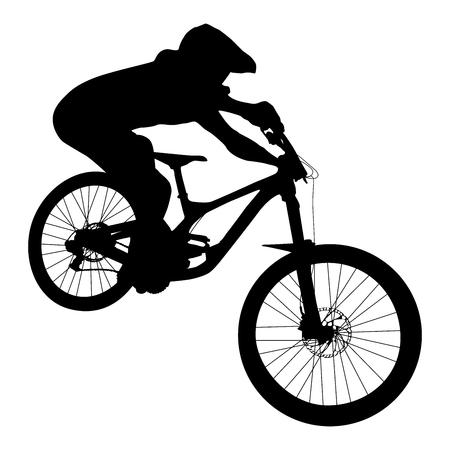 athlete mtb downhill bike black silhouette Illustration