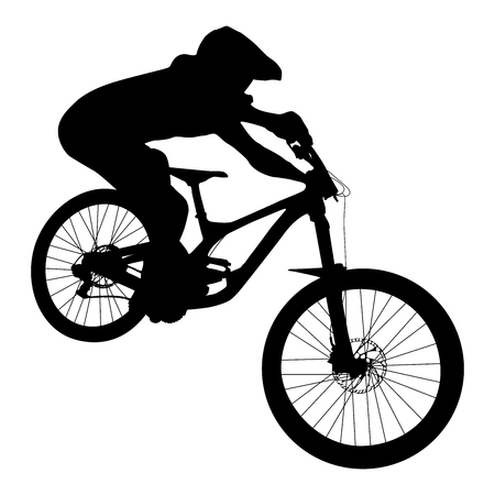 athlete mtb downhill bike black silhouette