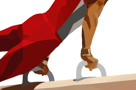 pomme horse athlete gymnast in artistic gymnastics. low poly vector